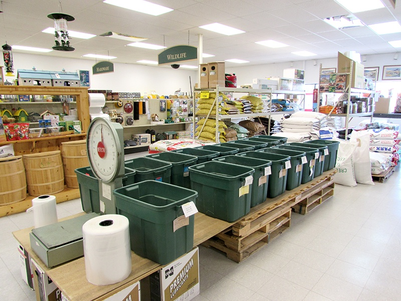 Country store animal feed buckets