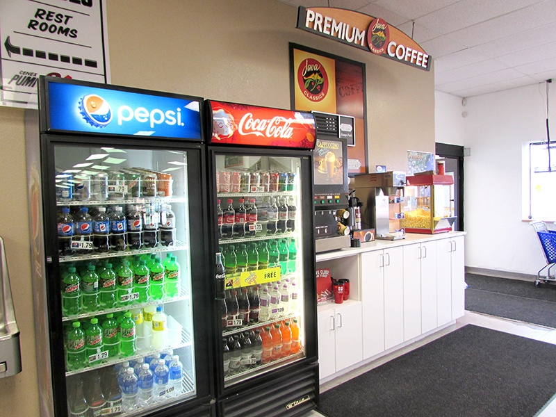 Country store coffee and pop cooler